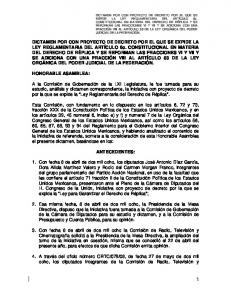 DICTAMEN POR CON PROYECTO DE DECRETO POR EL QUE SE EXPIDE LA LEY REGLAMENTARIA DEL ARTÍCULO