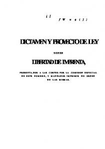 DICTAMEN Y PROYECTO DE LEY