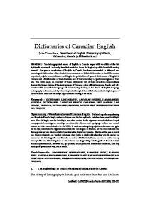 Dictionaries of Canadian English