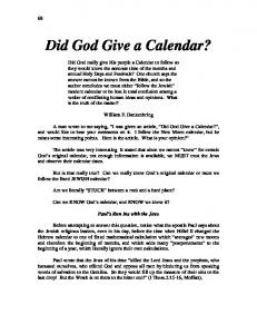 Did God Give a Calendar?