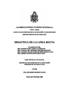 DIDACTICA DE LA LINEA RECTA