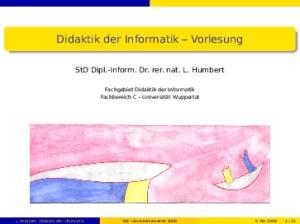 Didaktik der Informatik Vorlesung