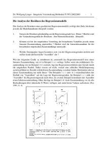 Die Analyse der Residuen des Regressionsmodells