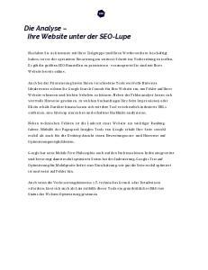 Die Analyse Ihre Website unter der SEO-Lupe