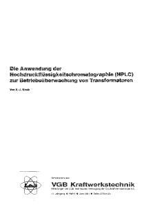 Die Anwendung der Hochdruckflüssigkeitschromatographie (HPLC) zur triebsüberwachung von Transformatoren