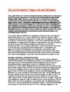 Die armenische Frage und die Schweiz