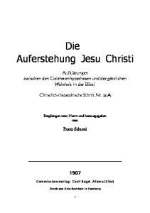 Die Auferstehung Jesu Christi