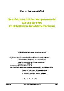Die aufsichtsrechtlichen Kompetenzen der EZB und der FMA im einheitlichen Aufsichtsmechanismus