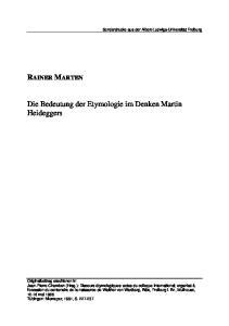 Die Bedeutung der Etymologie im Denken Martin Heideggers