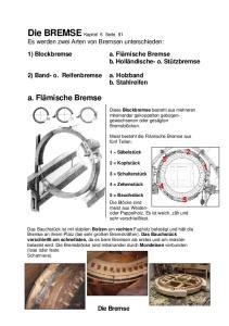 Die BREMSE Kapitel 6 Seite 81 Es werden zwei Arten von Bremsen unterschieden: