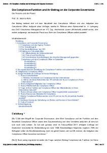 Die Compliance-Funktion und ihr Beitrag an die Corporate Governance