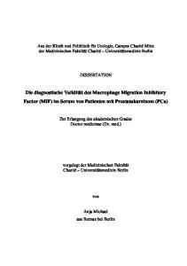 Die diagnostische Validität des Macrophage Migration Inhibitory Factor (MIF) im Serum von Patienten mit Prostatakarzinom (PCa)