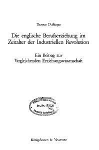 Die englische Berufserziehung im Zeitalter der Industriellen Revolution