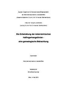 Die Entwicklung der österreichischen Haflingerhengstlinien - eine genealogische Betrachtung
