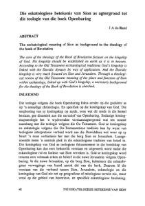 Die eskatologiese betekenis van Sion as agtergrond tot die teologie van die boek Openbaring