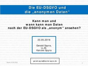 Die EU-DSGVO und die anonymen Daten