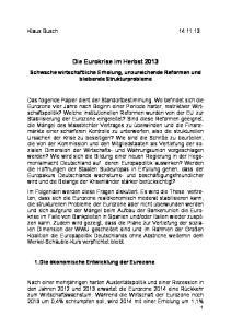 Die Eurokrise im Herbst 2013