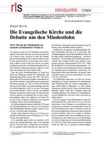 Die Evangelische Kirche und die Debatte um den Mindestlohn