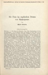 Die Frau im englischen Drama vor Shakespeare