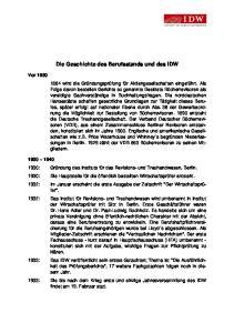 Die Geschichte des Berufsstands und des IDW