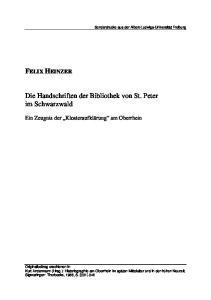 Die Handschriften der Bibliothek von St. Peter im Schwarzwald