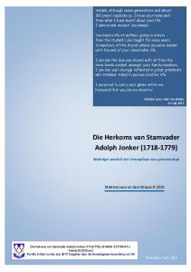 Die Herkoms van Stamvader Adolph Jonker ( )