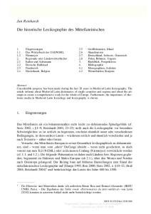 Die historische Lexikographie des Mittellateinischen