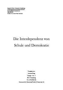 Die Interdependenz von Schule und Demokratie