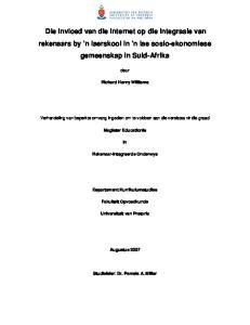 Die invloed van die Internet op die integrasie van rekenaars by n laerskool in n lae sosio-ekonomiese gemeenskap in Suid-Afrika