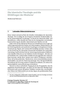 Die Islamische Theologie und die Ethikfragen der Moderne 1