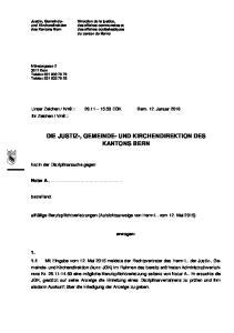 DIE JUSTIZ-, GEMEINDE- UND KIRCHENDIREKTION DES KANTONS BERN