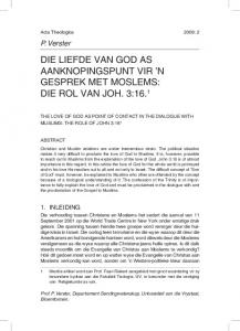 DIE LIEFDE VAN GOD AS AANKNOPINGSPUNT VIR N GESPREK MET MOSLEMS: DIE ROL VAN JOH. 3:16. 1