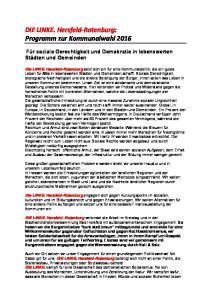 DIE LINKE. Hersfeld Rotenburg: Programm zur Kommunalwahl 2016