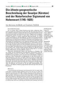 Die älteste geognostische Beschreibung der Saualpe (Kärnten) und der Naturforscher Sigismund von Hohenwart ( )