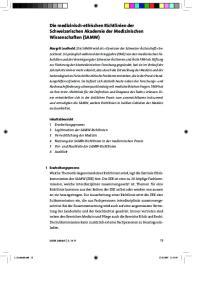 Die medizinisch-ethischen Richtlinien der Schweizerischen Akademie der Medizinischen Wissenschaften (SAMW)