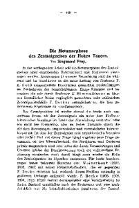Die Metamorphose des Zentralgneises der Hohen Tauern. Ton Siegmund Prey