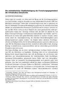 Die mittelalterliche Stadtbefestigung als Forschungsgegenstand der Infrastruktur-Geschichte