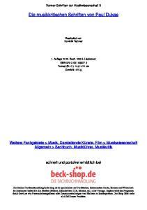 Die musikkritischen Schriften von Paul Dukas