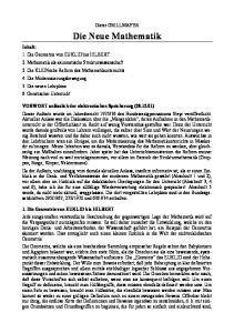 Die Neue Mathematik. Dieter GRILLMAYER. Inhalt: 1. Die Geometrie von EUKLID bis HILBERT