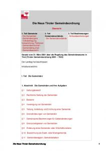 Die Neue Tiroler Gemeindeordnung