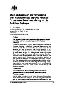 Die noodsaak van die verrekening van metateoretiese aspekte rakende n hermeneutiese benadering tot die Praktiese Teologie