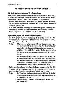 Die Pastoralbriefe als Schriften-Corpus I