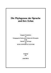 Die Phylogenese der Sprache und ihre Echos