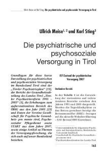 Die psychiatrische und psychosoziale Versorgung in Tirol
