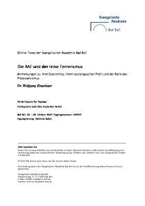 Die RAF und der linke Terrorismus