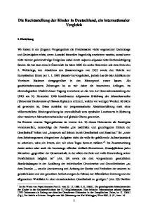 Die Rechtsstellung der Kinder in Deutschland, ein internationaler Vergleich