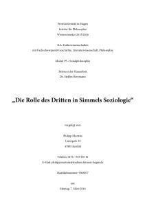 Die Rolle des Dritten in Simmels Soziologie