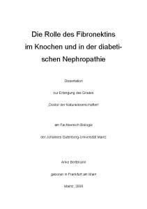 Die Rolle des Fibronektins im Knochen und in der diabetischen