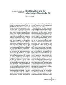 Die Slowakei und ihr schwieriger Weg in die EU