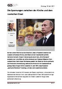 Die Spannungen zwischen der Kirche und dem russischen Staat